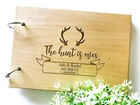 "Personalised ""Antler Hunt is Over"" Wedding (Customise Wooden) Guest Book"