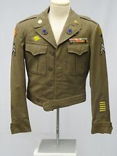 WWII BRONZE MEDAL 45th & 103 INFANTRY US ARMY IKE JACKET with CIB RIBBONS RANK