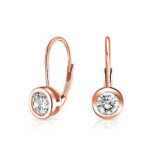 .50 CT Solitaire Brilliant Cut CZ Drop Earring Rose Gold Plated Sterling Silver
