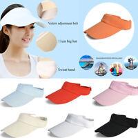 Men Women Plain Visor Outdoor Adjustable Sun Cap Sport Golf Tennis Beach Hat