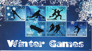 Guyana Olympics Stamps 2014 MNH Winter Games Curling Bobsleigh Ice Hockey 6v M/S