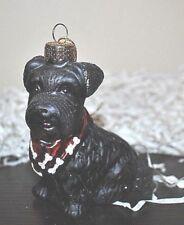 NEW SCOTTISH TERRIER Bandanna Xmas Glass Blown Ornament Dressed Animal CUTE