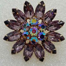 Vintage FLOWER BROOCH Pin Purple Glass Navette AB Rhinestone Costume Jewelry