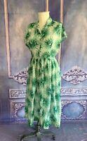 Vintage 1960s L'Aiglon Green Firework Floral Shirt Dress LARGE Whispy Sheer FAB!