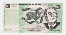 Government of Australia - Utah $3 political note Malcolm Fraser F-556