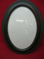 Unique Engraved Edge Antique Tigerwood Oval Convex Bubble Glass Picture Frame