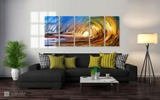 Ocean Wave Abstract Metal Wall Art Decor and Orange Sunset