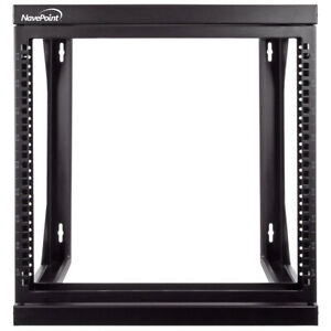 "9U Wall Mount IT Open Frame 19"" Network Rack with Swing Out Hinged Gate Black"