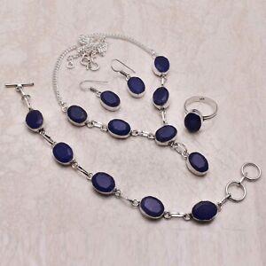 Blue Sapphire Gemstone Ethnic Handmade Christmas Gift Jewelry Sets L-852