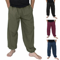 INCERUN Men 100% Cotton Baggy Pant Harem Hippie Harem Casual Loose Yoga Trousers