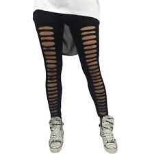 Leggings DONNA Strappato M/L Color NERO PUNK Pantacollant Strappi Strappati NERI