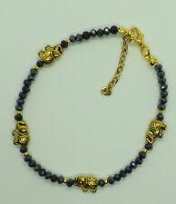 BLACK CRYSTAL BEADS Gold Tone Fortunato Elefante Cavigliera braccialetto alla caviglia Cavigliera Zingara