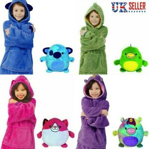 Kids Blanket Sweatshirt Huggle Pets Hoodie Plush Blanket Soft Warmer Coat Pillow