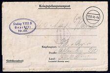 GERMANY PALESTINE 1941 POW GERMAN PRISIONER OF WAR LETTER STALAG VIII B DATED