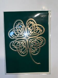Papyrus Greeting Card -  New Retail 7.95  ~ Gold Four Leaf Clover ~