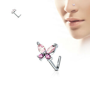 L Bend Nose Shaped Gold Stud Ring 316L Surgical Steel Opal CZ Rings 20G Jewelry