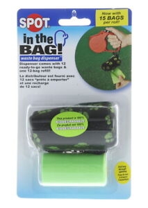 Spot In The Bag Dispenser Green Canvas Pouch Cover 12 Pet Waste Bags Removal