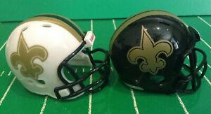 2 Custom NFL New Orleans Saints Alternate Riddell Pocket Pro Helmets NFL Lot
