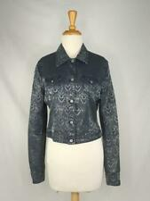 Oilily Size 40 US 10 Blue Jaquard Brocade Jacket Cropped