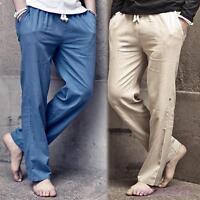 Herrenmode Leinenhose Latzhose Übergröße Sportshosen Freizeit 5 Farbes Lang