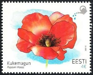 Estonia 2021 (10) Flower - Common poppy - stamp with a seed of poppy
