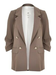 River Island Ruched Sleeve Petite Lined Blazer Light Brown Grey UK Size 10