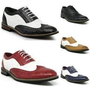 Parrazo Men Dress Shoes Wingtip Oxford 2-tone Leather Lined Lace Up Size 6.5--13