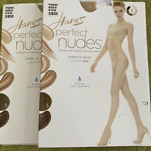 Hanes Perfect Nudes Sheer To Waist Pantyhose Style-PN0002 Small Lot of 2 Nude 1