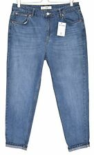 Topshop MOM High Waisted Vintage BLUE Tapered Crop Jeans Size 14 W32 L34