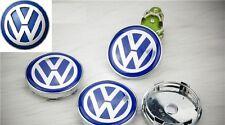 4 X Volkswagen Azul Cromo Centro PAC Hub 60mm Vw Golf Passat Jetta Scirocco Cc