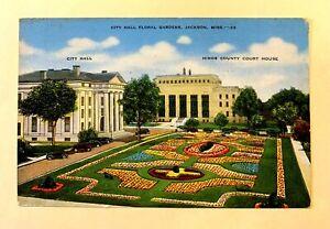 "JACKSON, MS, ""Panoramic View of City Hall, Florial Gardens"" VINTAGE 1945 PC 622"