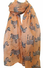 NEW Peach Zebra Animal Print Large Maxi Scarf Stole Sarong Wrap Scarves