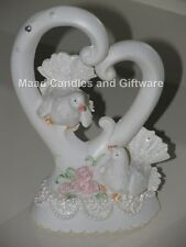 Bride Groom Wedding Cake Topper doves and heart
