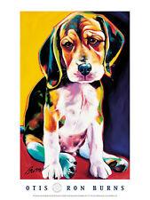 DOG ART PRINT - Otis - by Ron Burns 24x18 Cute Puppy Poster