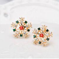 Lovely Rhinestone Alloy Christmas Snowflake Shape Stud Earring Lady's Jewelry