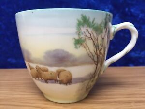 Rare ROYAL DOULTON 'Winter Snow Scene with Sheep' Porcelain Cup #H66 c.1919 AF