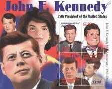 US President JFK / JOHN FITZGERALD KENNEDY 4v MNH Stamp Sheet (2002 Dominica)