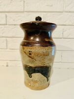 Vintage Hand Wheel Thrown Studio Art Pottery Canister Jar w/Lid Signed RC 1970's