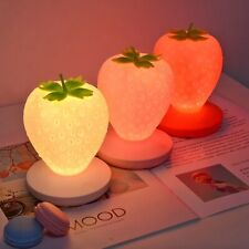 Usb Led Strawberry Bedside Lamp Touch Night Light Rechargeable 3 Colour Changing