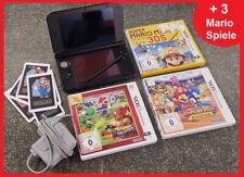 Nintendo 3DS XL Konsole in schwarz mit Ladekabel + Stift + 3x Mario Spiele