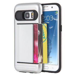 For Samsung Galaxy S7 Edge -HYBRID ARMOR CREDIT CARD SLOT WALLET HARD CASE COVER
