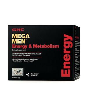 GNC Mega Men Vitamin Pack Energy & Metabolism Blend VitaPak 30 Day Supply 12/21