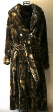 OLEG CASSINI Chic Brown Faux Fur Full Long Length Belted Winter Coat XL USA