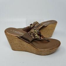 Callisto California Brown Beads Wedge Heel Thong Shoes Open Toe Women Size 6