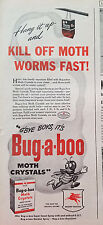 1946 Bug-a-boo Insecticide Moth Crystals Kill of Worms Fast Original Ad