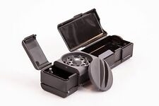 Black pocket size combie = herb grinder+mixing bowl+papers+filters+storage,5in1!