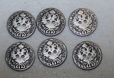 "(6) 3/4"" Metal DOUBLE EAGLE Antique BUTTONS 4 German Bavarian Sport Vest Jacket"