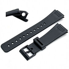 Replacement Watch Band Strap 18mm Black Resin to fit Casio 399DP4 (AQ47)