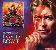 República Centroafricana 2016 estampillada sin montar o nunca montada David Bowie Tribute 1v S/S Música Estrellas sellos