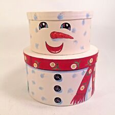 Holiday Snowman 2 Stacking Gift Boxes Storage Canisters Graduated Sizes